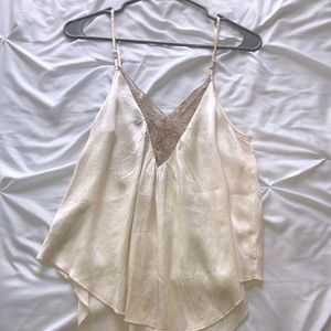 American Eagle silk tank top with lace accents